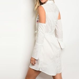 Embroidered Cotton Shirtdress White